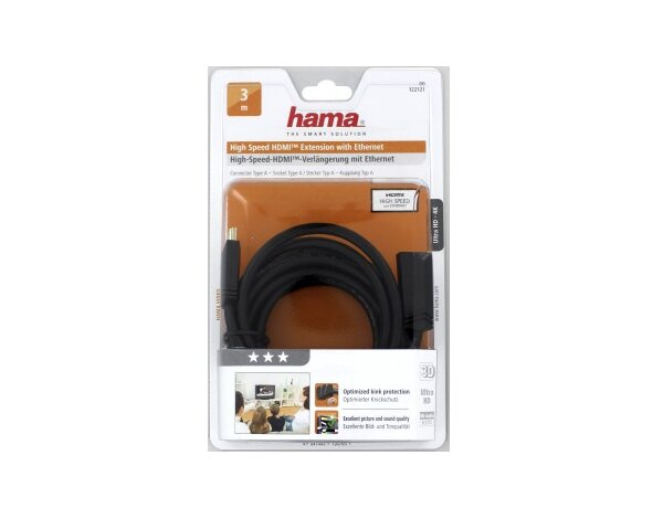 Kabel HDMI HAMA High Speed ​​HDMI  wtyk - gniazdo, Ethernet 3,0 m