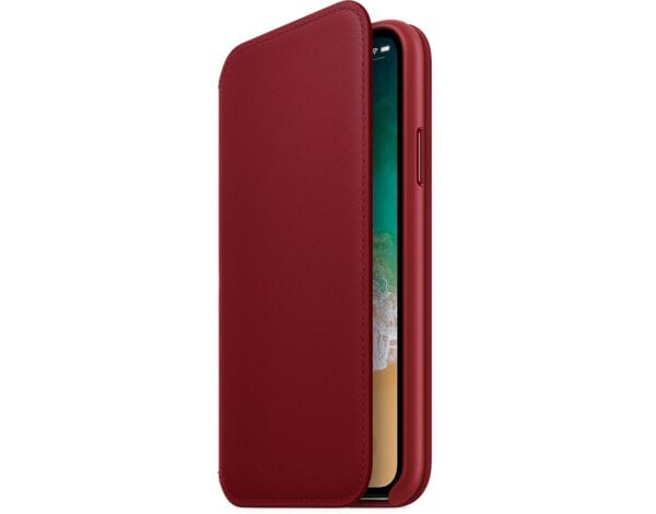 Etui APPLE Leather Folio do iPhone X Czerwony MRQD2ZM/A