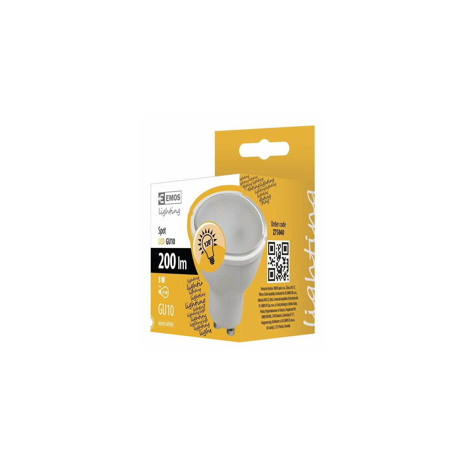 Żarówka LED EMOS VALUE 3W GU10 WW Z75040